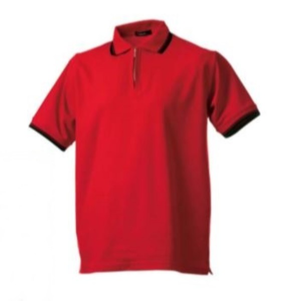 Men Pique Short Sleeve Polo Shirt with Zipper