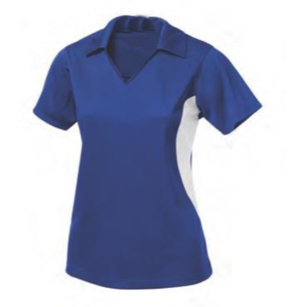 blue two color polo women shirt